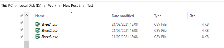 Result CSV files inside the folder
