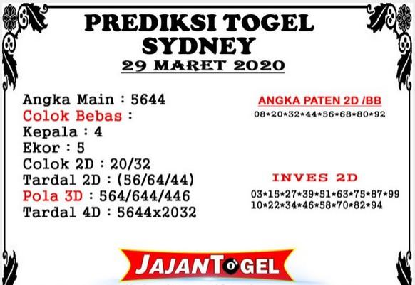 Prediksi Togel Sidney Minggu 29 Maret 2020 - Prediksi Jajan Togel