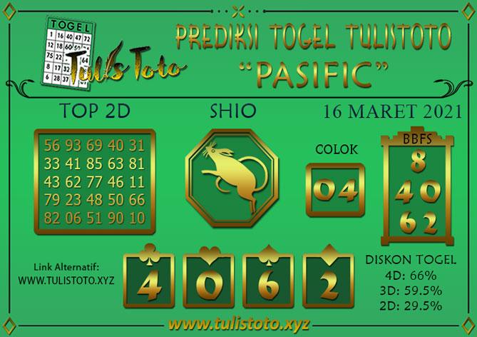 Prediksi Togel PASIFIC TULISTOTO 16 MARET 2021