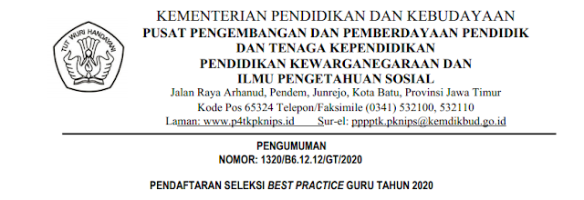 Pendaftaran Seleksi Best Practice Guru Tahun  PENDAFTARAN SELEKSI BEST PRACTICE GURU TAHUN 2020 UNTUK GURU SD/MI, GURU PPKN DAN  IPS  SMP/MTS  SMA/MA SMK/MAK