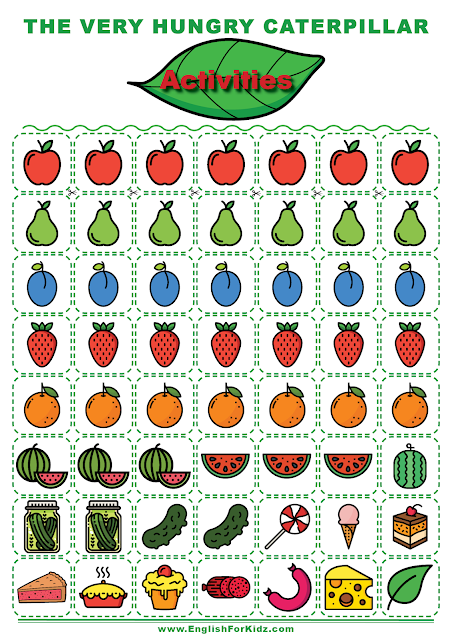 The Very Hungry Caterpillar cut-out cards - fruits, vegetables, food