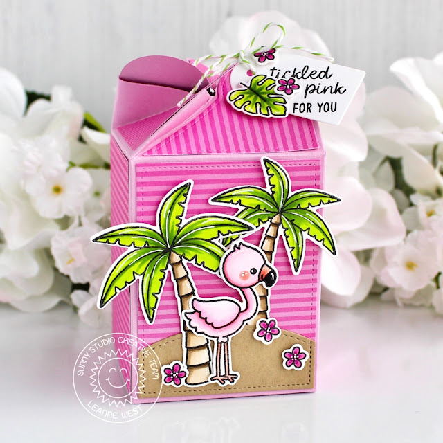 Sunny Studio Stamps: Wrap Around Box Dies Fabulous Flamingos Sending Sunshine Backyard Bugs Sunny Sentiments Treat Boxes by Leanne West and Eloise Blue