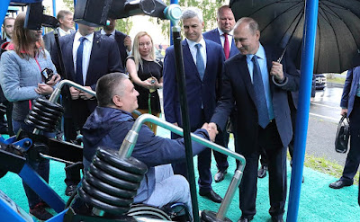 President Putin in an open-air gym in Petrozavodsk.