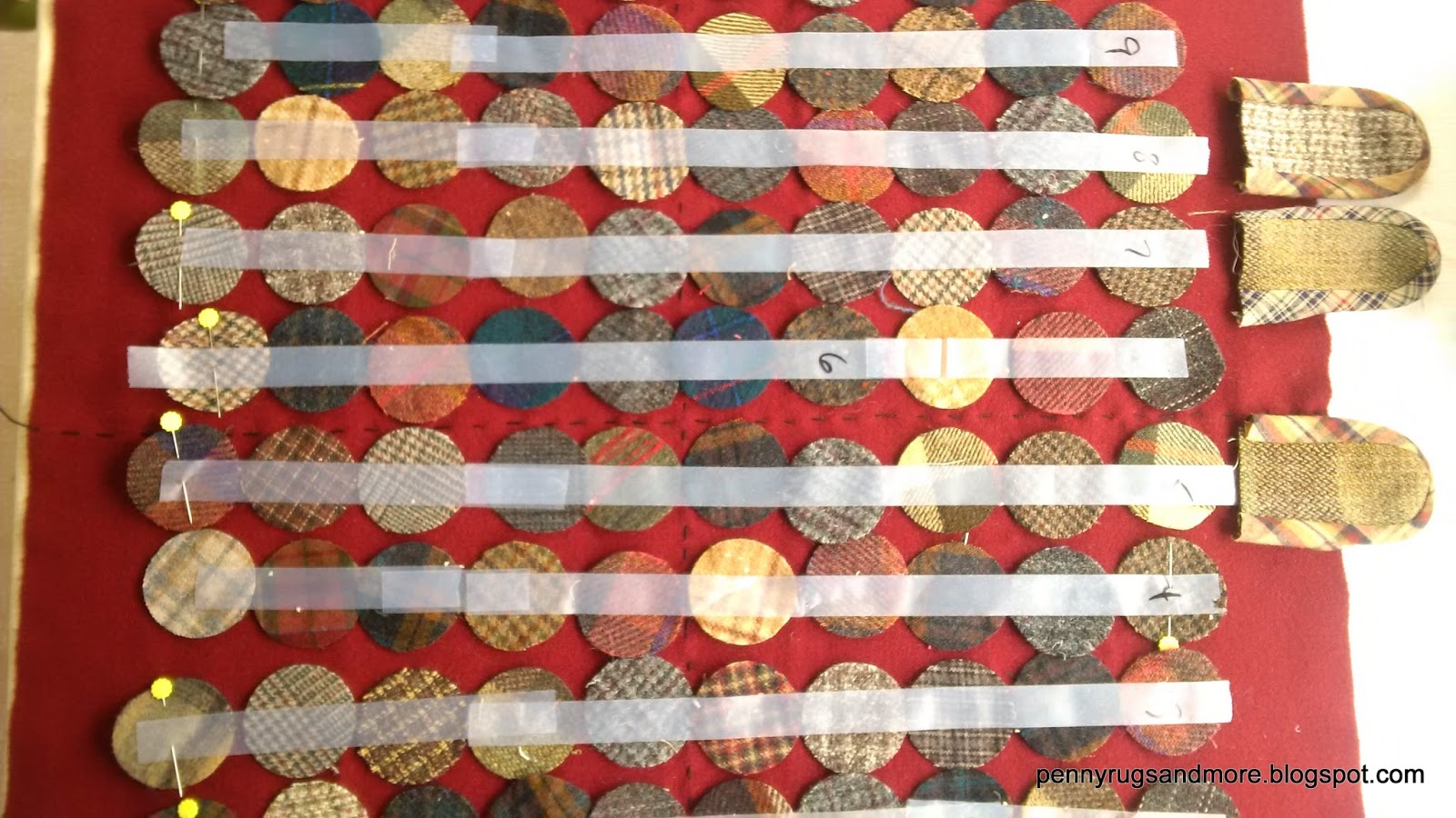 lay out 2 inch mixed plaid pennies into 10 rows of 10 yes thatu0027s 100 2 inch pennies i use scotch tape to hold my rows and i mark each row with a number