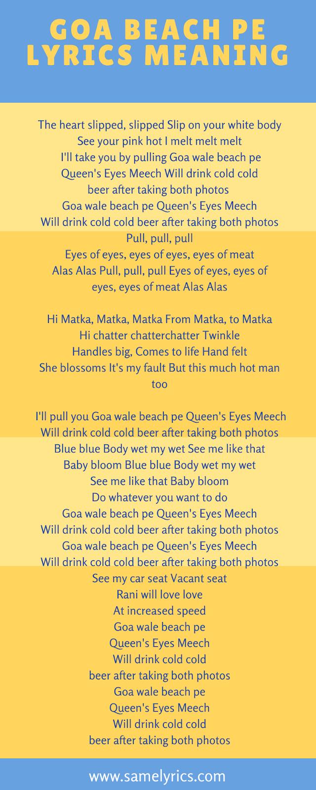 Goa Beach Pe Lyrics meaning