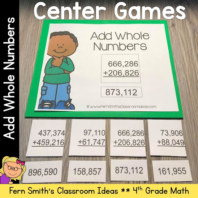 Click Here to Download This 4th Grade Go Math 1.6 Add Whole Numbers Center Games Resource for Your Classroom Today!