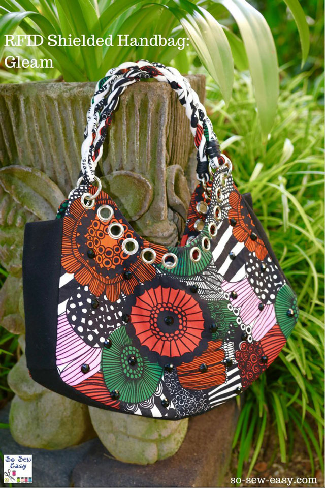 Learn how to make an RFID Shielded Shopping Handbag with the free PDF pattern by So Sew Easy.