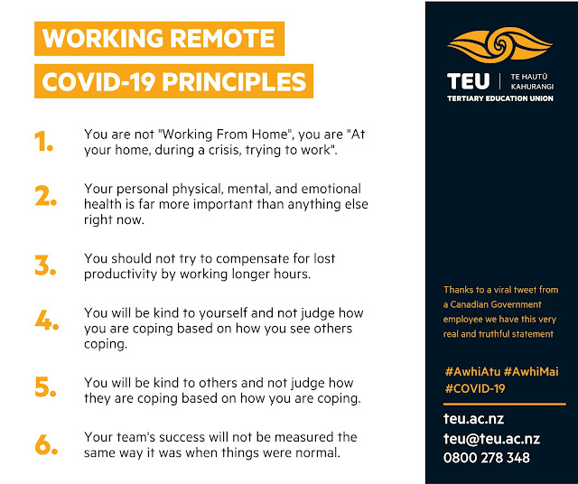 'Working Remote COVID-19 Principles' from NZ TEU on Twitter