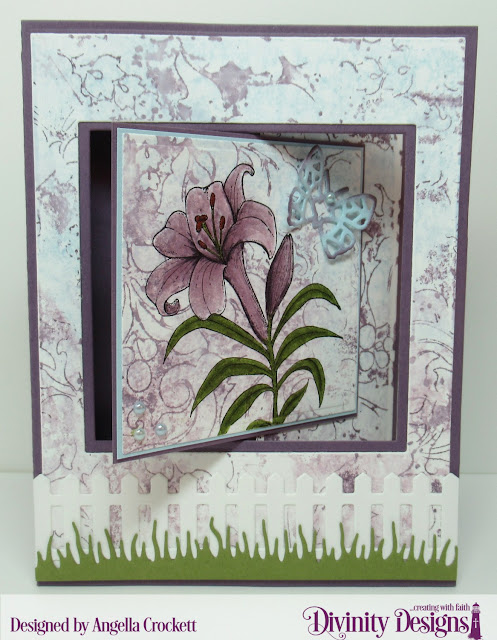 Divinity Designs: Miracle of Easter, Lever Card Dies, Lever Card Layers Dies, Flourishes Mixed Media Stencil, Scalloped Ovals Dies, Ovals Dies, Bitty Butterflies Dies, Fence Die, Grass Lawn Die, Card Designer Angie Crockett