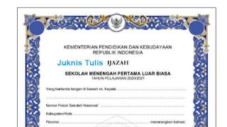Unduh Juknis Pengisian Blangko Ijasah SD SMP SMA SMK TP 2020/2021