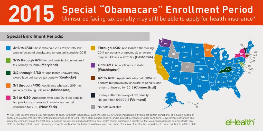 U.S. map special enrollment for affordable health care act