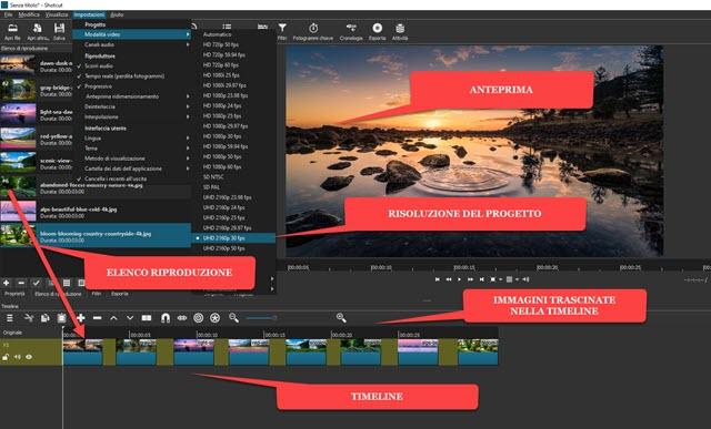 interfaccia di shotcut con progetto slideshow