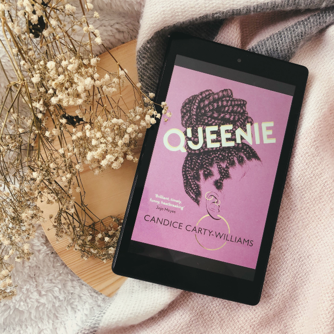 Cover for 'Queenie' by Candice Carty-Williams on a kindle