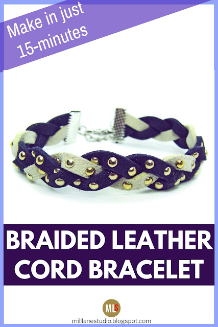 Dark purple and white studded faux suede bracelet inspiration sheet