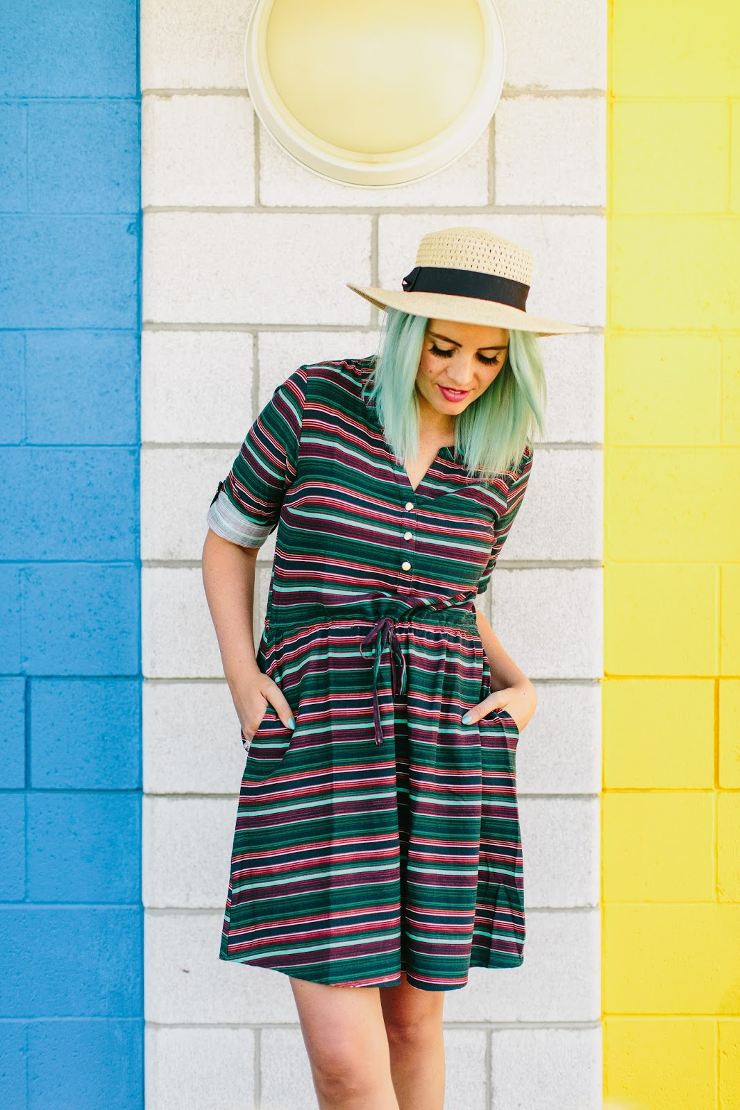 Blue hair, Striped Dress, ModCloth