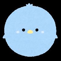 パステルカラーの鳥のイラスト(水色)