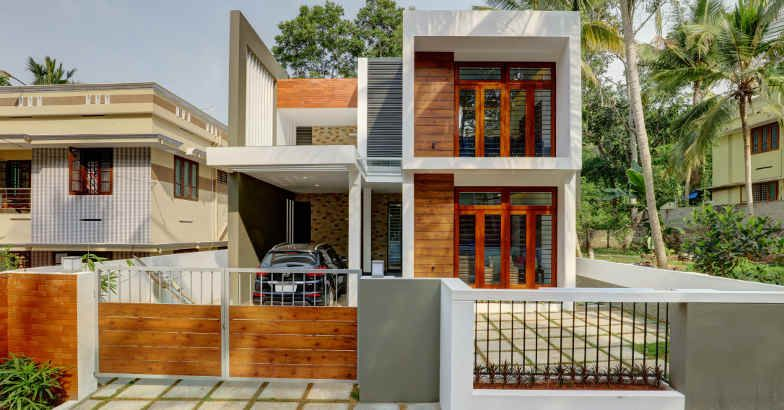 3 Bedroom Minimalist Contemporary Home Design For Small Plots Free Kerala Home Plans