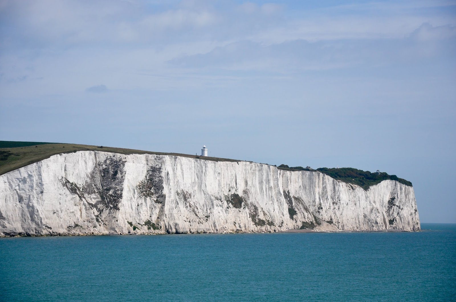 The white cliffs of Dover seen from a DFDS ferry after crossing the English Channel back from France