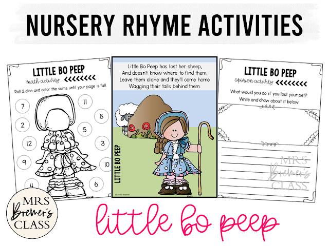 Little Bo Peep activities unit with literacy and math Common Core aligned companion activities for Nursery Rhymes in Kindergarten
