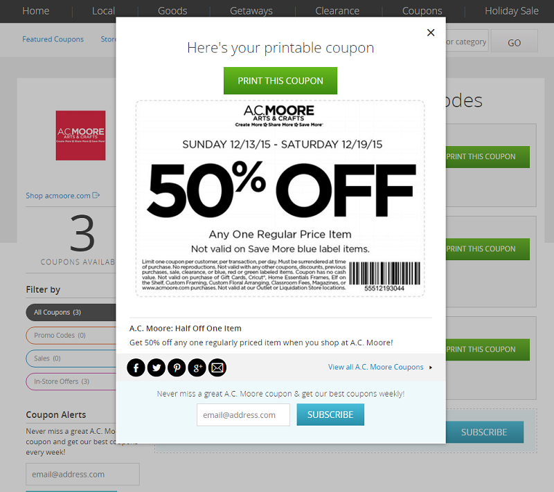 Coupons without signing up