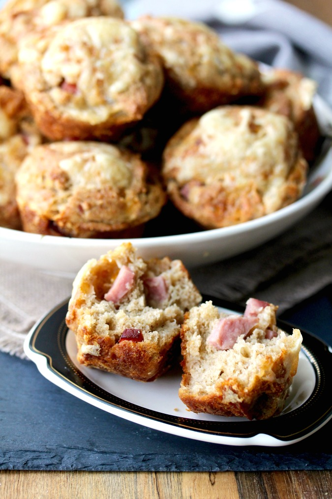 Ham and Cheese Rye Muffins #muffins #hamandcheese #swisscheese