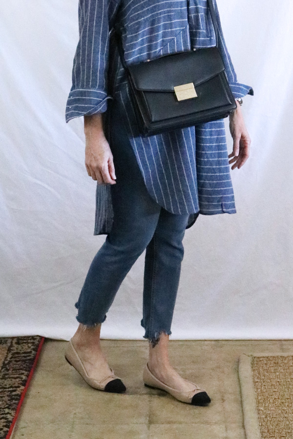 tunic frayed jeans two tone flats fashion over 50