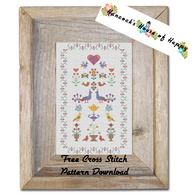 Traditional Cross Stitch Bird Motif Sampler Free to Download