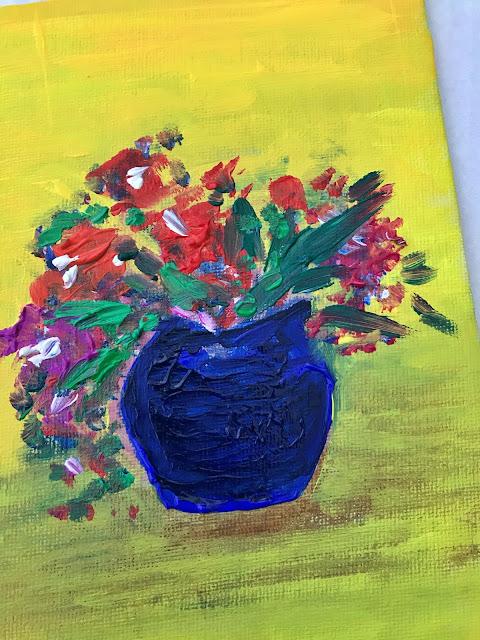 gouache paint vase