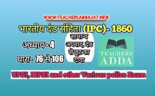 UPSI Moolvedhi IPC 1860 नोट्स [अध्याय-4]  | भारतीय दंड संहिता: अध्याय 4 की धाराएं