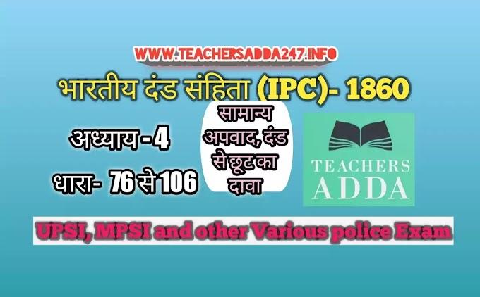 UPSI Moolvedhi IPC 1860 नोट्स [अध्याय-4]    भारतीय दंड संहिता: अध्याय 4 की धाराएं