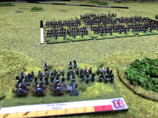 The mass of French infantry makes a good target for the British Horse Artillery