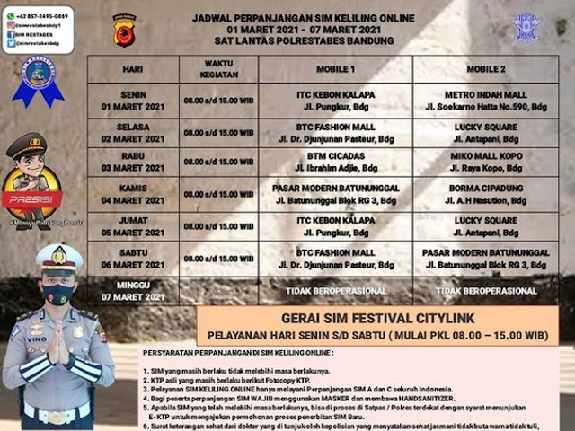 Jadwal Lengkap Layanan SIM Keliling Polrestabes Bandung Bulan Maret 2021