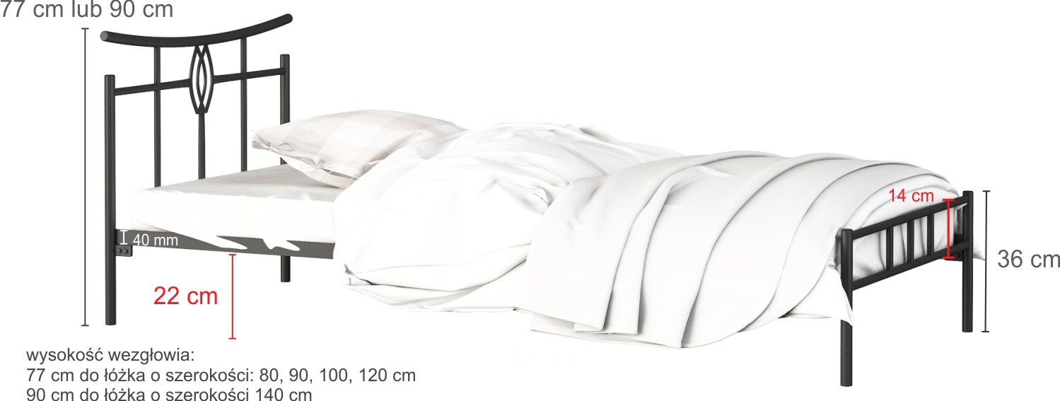 Łóżko metalowe wzór 6J