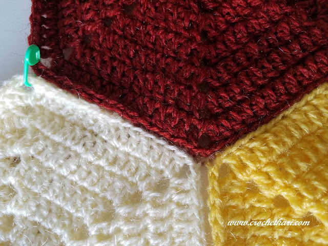 How to join crochet hexagons using slip stitch in back loops only crochetkari