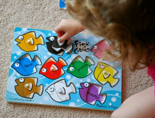 Melissa and Doug fish color puzzle, done as part of ocean theme week preschool