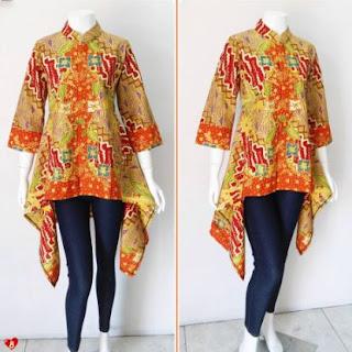 12+ Contoh Model Blouse Batik Atasan Wanita Modern 2018