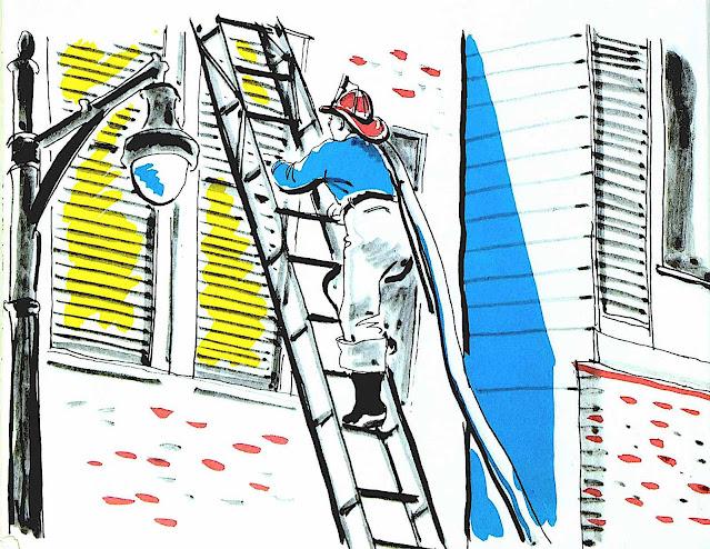 a children's book illustration by Irene Milner & Mary Salem 1954, a fireman climbing a truck ladder