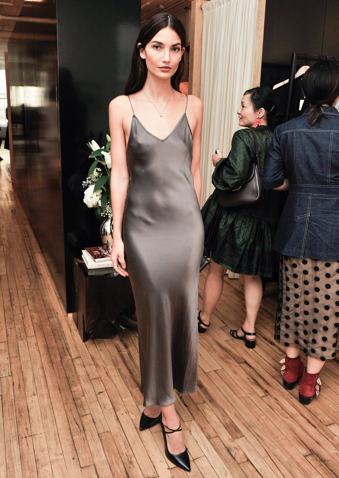 lily aldridge, girl, beautiful, grey satin floor length, spaghetti straps, ootd, ootn, outfit, party