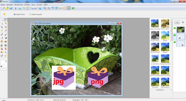 Screenshot PhoXo mit eingefügtem JPG und PNG