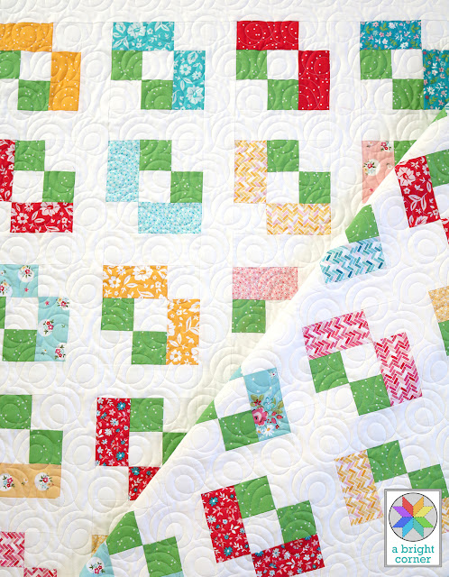Icebox Cookie baby quilt by Andy of A Bright Corner - a charm pack quilt pattern from Perfect 5 Quilts book