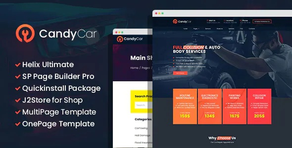 Auto service Joomla Template With Page Builder