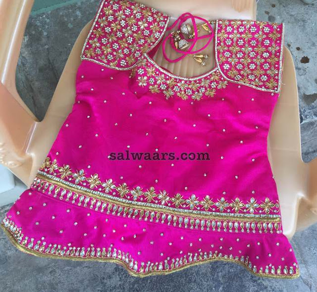 Blue and Pink Kundan Lehenga