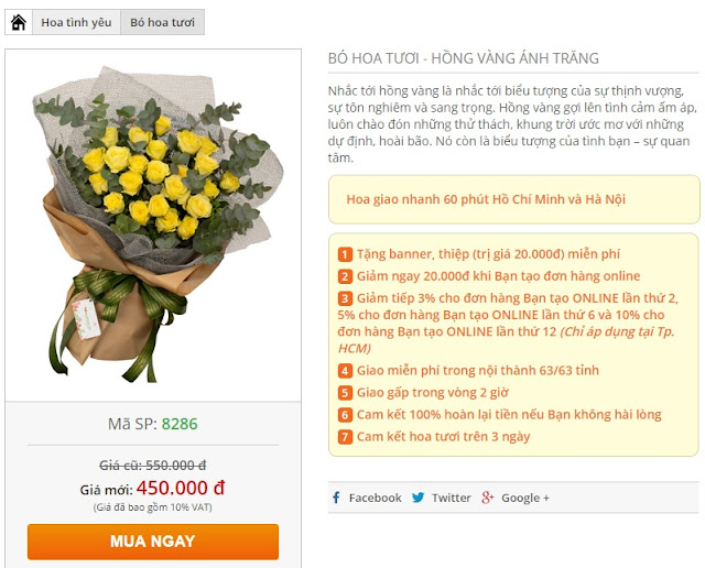 Bước 3 đặt điện hoa Hoa Yêu Thương