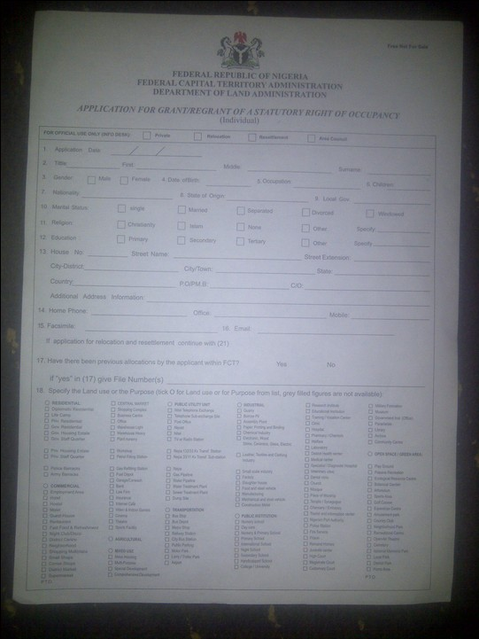 view the sample of the land acquisition application form below