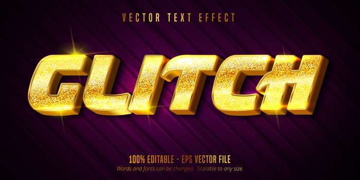 Glitch Text Luxury Golden Color Editable Text Effect On Textured Background