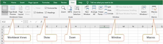 Excel View tab
