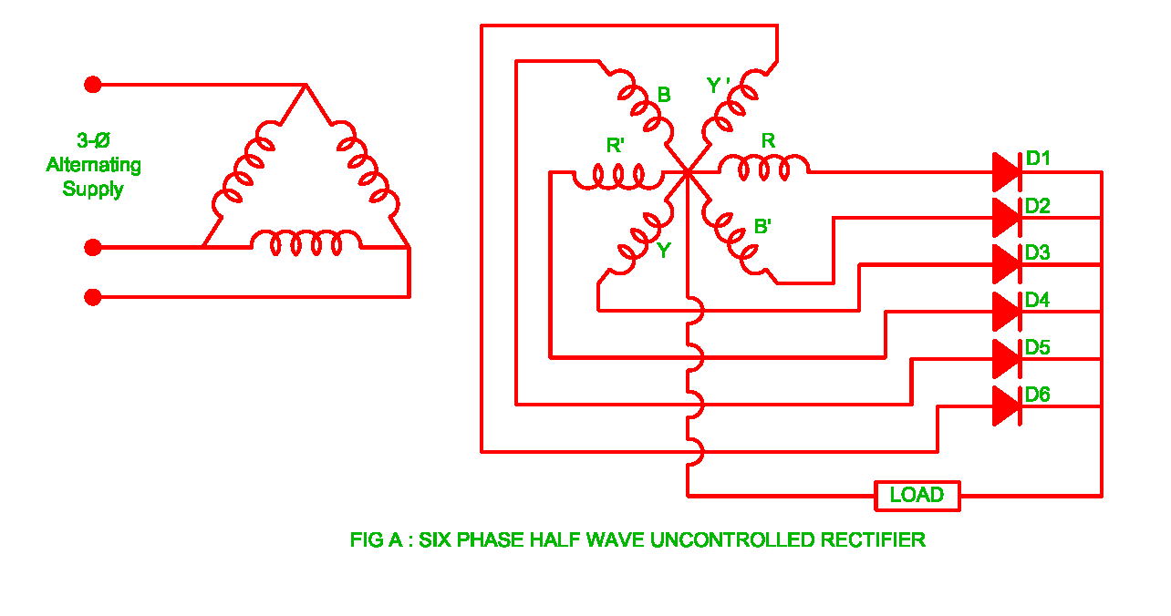 Working of Six Phase Half Wave Uncontrolled Rectifier ... on