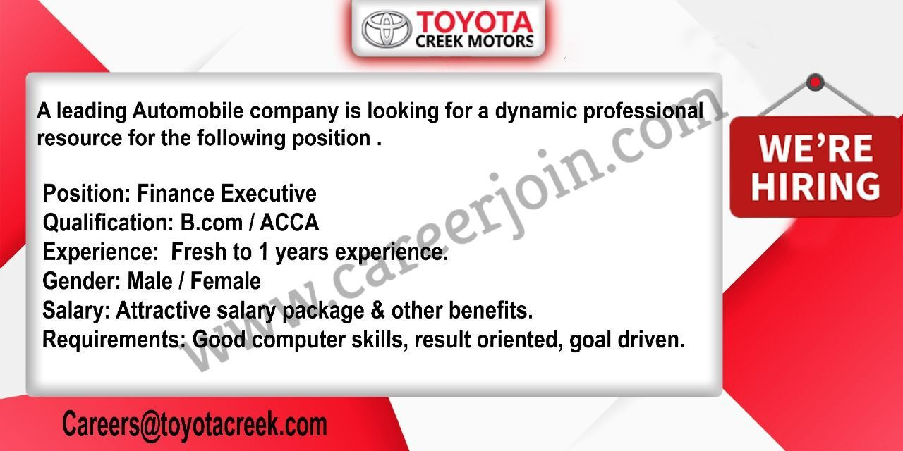 Toyota Creek Motors Latest Jobs in Pakistan 2021 For Finance Executive Post