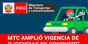 MTC: Amplió Vigencia de Licencias de Conducir