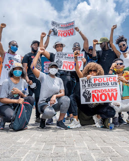 Actress Omotola Jalade Ekeinde And Her Family Join #EndSARS Protest